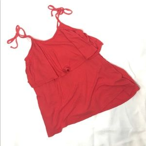 TIME AND TRU coral tank tiered flowy S 4-6